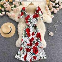 Летняя мода темперамент высококлассный женский Vestidos Элегантная печать в горошек Slim Fit Sling Fishtail MIDI платье GK831 210506