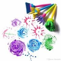 موضة جديدة 4 قطعة / المجموعة رسم اللعب مضحك الإبداعية لعب للأطفال diy زهرة كتابات الإسفنج الفن اللوازم فرشاة ختم اللوحة أداة