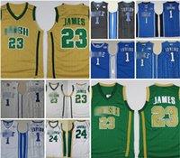 Урожай Сент-Винсент Мэри Высшая школа Irish 23 Lebron Jersey Белый Зеленый Святой Патрик Кири Ирвинг Ретро Баскетбол