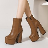 Boots Customized Big Size Women Shoes Winter Short Booty Platform Thick Sole High Chunky Heel Ankle Side Zipper