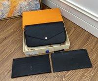 Moda Luxo Designer Bolsa Pochette Felicie Bag Bolsas De Couro Genuíno Bolsas De Embreagem De Ombro Messenger Compras Bolsa com Caixa 3 Pcs Wallet