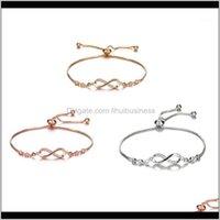 Charm Bracelets Jewelry1Pc 3Colors Zinc Alloy Round Shining Zircon Pendant Bracelet 8 Word Adjustable Bangle For Womens Fashion Jewelry Gift1