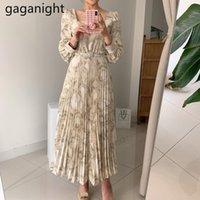 Gaganight moda mulheres plissadas maxi vestido de festa de manga comprida quadrado colarinho coreano vestidos de festa meninas vestidos Dropshipping