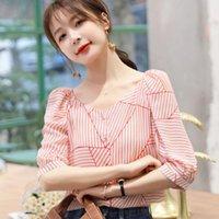 Kore Şifon Bluzlar Kadınlar Yaz Çizgili Bluz Şişirilmiş Kollu Üst Artı Boyutu Blusas Femininas Elegante Tops