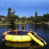 الأصفر الأزرق الأبيض نفخ الترامبولين المياه مع الشريحة القفز وسادة حقيبة القفز لعبة الحراس لألعاب المحيط حديقة