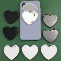 Universal Heart Mirror CellPhone Holder 3M glue UV printing Blank Glass phone Stand 360 Degree Finger Bracket