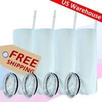 US Warehouse 20oz Sublimatie Straight Tumbler Water Cups Skinny Tumblers Blanks Fles Dubbele Muur Rvs Vacuüm Geïsoleerde Mok Snelle levering Groothandel