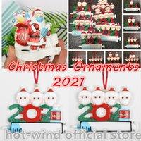¡¡¡NUEVO!!! 2021 Resina Navidad Decoración de cuarentena Adornos de cuarentena Partido de regalo Producto Familia personalizada de 1/2/3/4/5/6/7 Adorno Pandemic con máscaras faciales