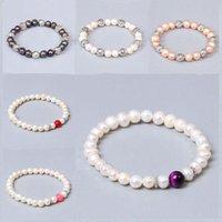 Многоцветные пресноводные барочные жемчужины браслеты натуральный камень круглые бусины эластичные браслеты для женщин мужчин любителей ювелирных изделий подарки из бисера, пряди