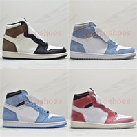 새로운 대학교 블루 턱맨 1 남자 중반 높은 농구 신발 1S 고품질 Chaussures Mens 트레이너 디자이너 운동화 Zapatos US5.5-12