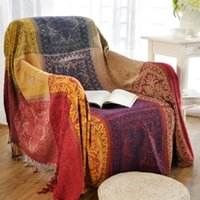 Blankets Bohemian Chenille Blanket For Couch Sofa Decorative Slipcover Throws Plaid Rectangular Boho Stitching Travel Plane
