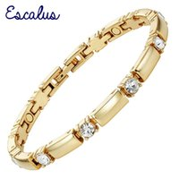 Link, Chain Escalus Trendy Crystals Magnetic Jewelry Slim Girl Bracelet For Women Fashion Charm Gold Color Bracelets Wristband