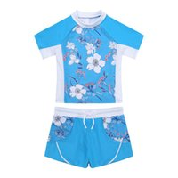 One-Pieces Kids Girls Summer Swimwear Swimming Bathing Suits Short Sleeves Floral Print Top And Drawstring Boyshorts Set Beach Swimsuit