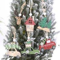 3 PCS Set Christmas Wooden Hanging Ornaments New Year Xmas Tree Drop Decorations Elk Car House Shape Pendants BWE9595