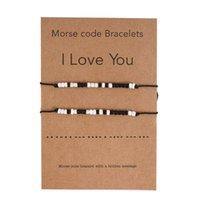 Charme Armbänder 2 stücke Ich liebe dich Freundschaftsliebhaber Morse Code Perlen Armband mit geheimer Nachricht U4LE