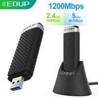 EDUP USB WiFi Adapter 5GHz 1200Mbps 802.11ac Receptor WiFi com estendido Cabo Vertical Base Station USB 3.0 Cartão de Rede Ethernet