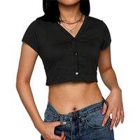 여성용 티셔츠 여성 패션 캐주얼 니트 버튼 다운 티셔츠 짧은 소매 v 목 얇은 늑골이 섹시한 카디건 자르기 탑 슬림 파티 매일