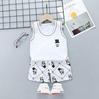 Summer Kids Clothing Set Girls Boys Casual Beach Clothes Suits Cotton Fashion Carton Tops Vest +Shorts Children Outfits Sets