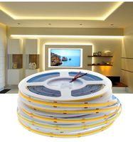 COB LED 스트립 라이트 고밀도 FOB COB 유연한 LED 조명 RA90 3000K 4000K 6000K LED 테이프 DC12V 24V 5m / lot
