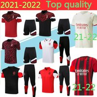 Topkwaliteit 2021 AC Milan Polo Soccer Training Pak Rood Sweatshirt Kit Survetement 21/22 Korte Mouwen Voetbal Sport