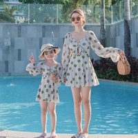 One-Pieces 2021 Korean Style Long-Sleeved Girls Swimsuit Loose Split Skirt Children'S All-Match Cute Swimwear LB906