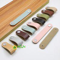 Handles & Pulls 2 Pcs Paper Gift Box Leather Handle Cabinet Wardrobe Door Drawer Color Zinc Alloy Wine