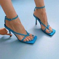 Chic Sky Blue 2021 V Sangle Stretch Stretch Sanel Designer Talons Semelle Semelle Semelle Chaussures en cuir véritables avec une marchandise carrée 36-42