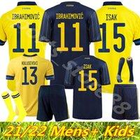 2021 homens + kit kit kit sweden futebol jerseys time nacional ibrahimovic forsberg mens larsson ekdal isak casa fora juventude meninos futebol camisas