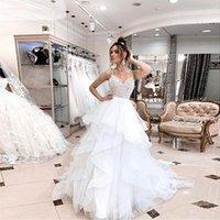 Criss Cross Ruffles Tier Wedding Dresses Bead Top V-Neck Spaghetti Straps Bridal Gown Puffy Layered Tulle Garden Vestido De Noiva 2022