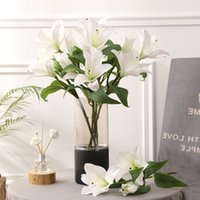5Pcs lot Simulation 3 Heads Hand Feel Lily Flower Wedding Home Decoration Photography Fake Flowers Film Lily Bouquet