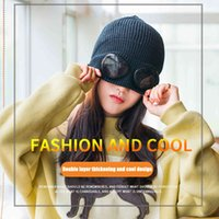 Casual Dresses Winter Warm Beanie Hat With Glasses Cap Knitted Adult Solid Ladies Outdoors Woolen Bonnet