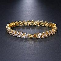 Trendy Leaf Charm Cubic Zirconia Bracelet & Bangles For Bride Bracelets Jewelry Sliver Color Clear CZ Crystal Bangles For Women 1722 Q2