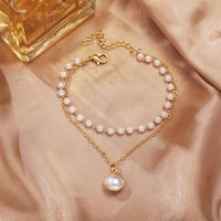 Bangle 2021 Trendy Double-layer Pearl Pendant Bracelet For Women Simple Personality Temperament Charm Bracelets Jewelry Gift