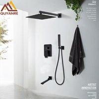 Quyanre torneiras de chuveiro preto fosco conjunto de chuva cachoeira escondida parede montagem mixer banheira combinados conjuntos de banheiro
