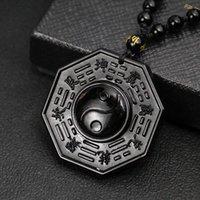 Colgante geométrico natural Collar de obsidiana negra chino tai chi chisme cadena de cuentas joyería de moda encanto para hombres regalos collares