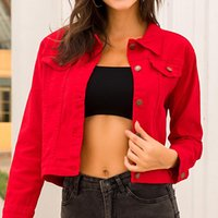 Women's Jackets Women Denim Coats And Red Single Breasted Cropped Jacket Womens Clothing Solid Casual Crop Cotton Jeans Coat 2021