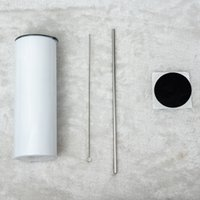 20oz 승화 스트레이트 텀블러 화이트 스테인레스 스틸 진공 절연 테이퍼 슬림 DIY 20 z 컵 자동차 커피 머그잔과 짚
