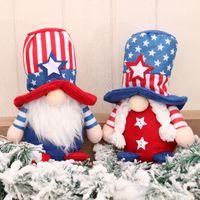 Süße amerikanische Unabhängigkeitstag Sitzen Puppenstern Gestreifte Gesichtslose Zwerg Rudolph Plüsch Tiere Puppen Kinder Geschenk