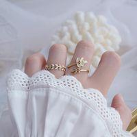Cluster-Ringe 2021 Koreaner Verkauf Modeschmuck Einfache und großzügige Kupfer Weizenohr Tropfe Öl Opal Open Einstellbarer weiblicher Ring
