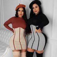 Autumn Casual Slim Dress Women Fashion Patchwork Long Sleeve O Neck Clothing Lady Knitting Mini Dresses 2020 New
