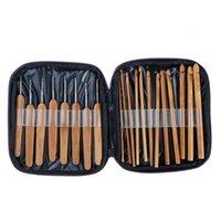 20 unids ganchillos de bambú ganchos tejer agujas de tejer con bolsa de almacenamiento tejer hilado de hilado Herramientas de costura Accesorios de costura