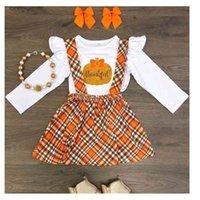 Тыква Футболка Top Tape Brap Skyt Юбка из двух частей набор Хэллоуин для девочек с длинным рукавом Рождественские дети TUTU платье одежда вечеринка одежда G81Z508