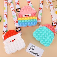 Christmas Fidget Toys Santa Claus Shoulder Bag Coin Purse Fashion Childrens Push Sensory Bubble Squishy Cosmetics Bags Girl Gifts Adult Decompression Toy Surprise