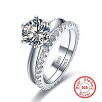 Cluster Rings Solitaire 1ct Diamond Ring Sets Real 925 Sterling Silver Jewelry Engagement Wedding Band For Women Bridal Party Accessory