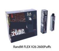 Original qst randm flex descartável e cigarros kit de dispositivo 2600 puffs 1000mAh bateria pré-preenchida 8,5ml vape vape vape caneta de vapor mais 100% aut