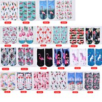 Women Girl Flamingo Ankle Socks 3D Print Animal Cotton Sock for Gift Party Fashion Hosiery Wholesale Price
