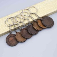 5pcs Round Wood Cabochon Keychain Base Settings 25mm 30mm Dia Wooden Cameo Bezel Blanks Diy Key Chain Keyring Accessories