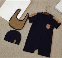 Mode 3pcs / set bébé vêtements enfants Romper Pajamas nouveau-né bébé fille Jumpsuits + chapeau + bretelles vêtements vêtements bébé
