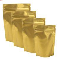 قبول مخصص شعار 100x دائم ماتي الذهب ziplock المعدنية مايلر أكياس التعبئة الحرارة قابلة للإغلاق الوقوف البريدي قفل الحقيبة