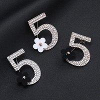 Pines, Broches Rhinestone completo número 5 Flor Broche de lujo Fiesta de boda Fiesta de boda Mujer Boutonniere Regalo 3.8cm * 3.3cm